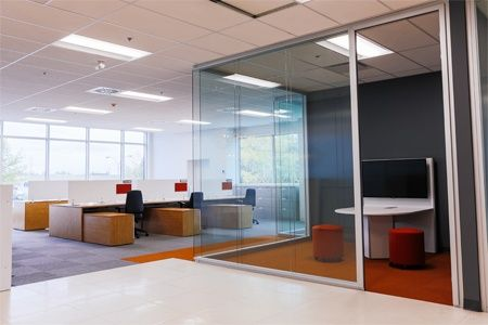 Topring open office space with glass wall enclosed collaborative