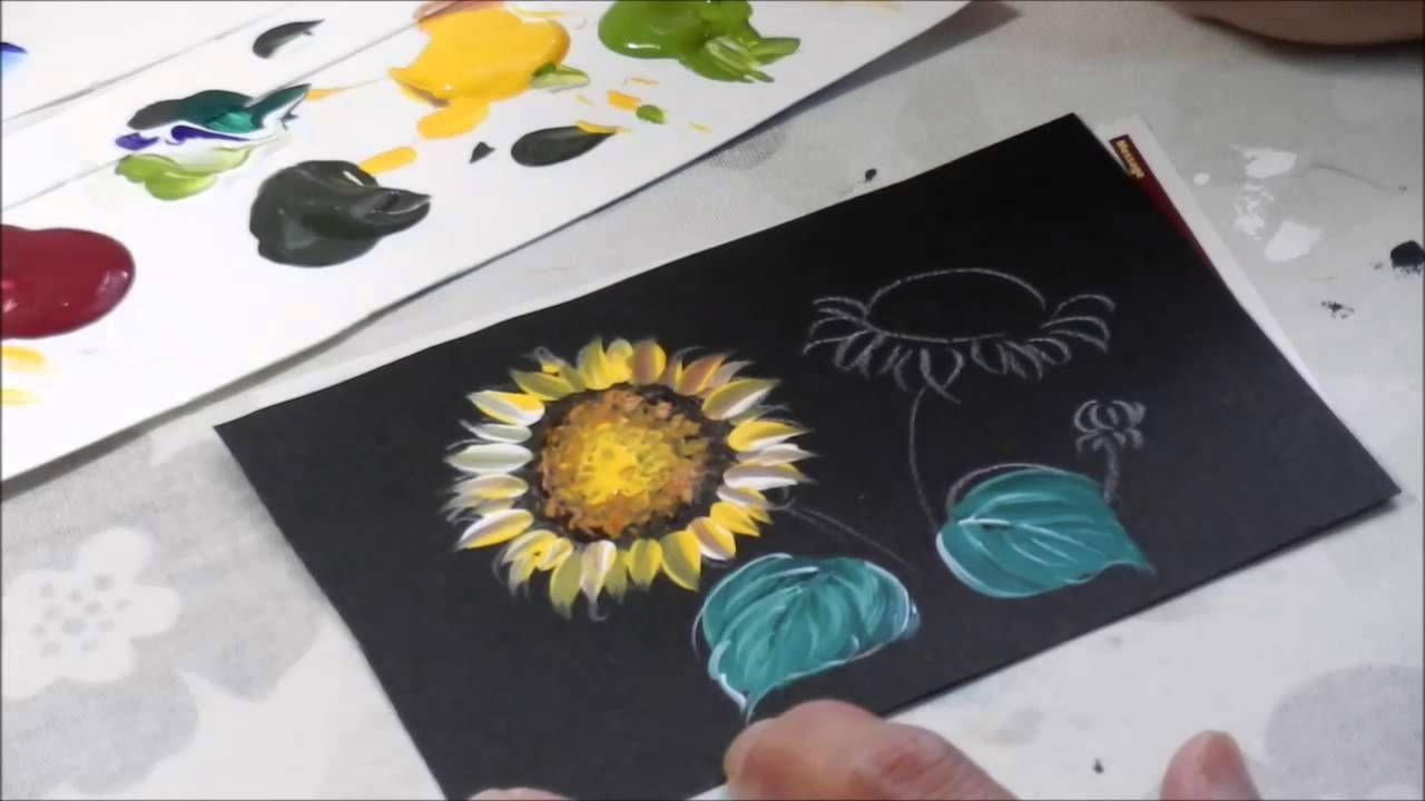 【トールペイント】描き方㉕ ひまわり   How to draw Sunflower