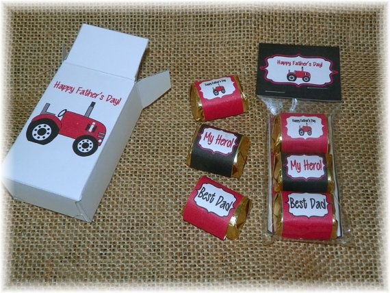 Father's Day Red Tractor Printable Hershey Nugget Wrappers, Bag toppers,Box Favor
