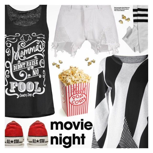 """""""Bring the Popcorn: Movie Night"""" by pokadoll ❤ liked on Polyvore featuring Nasty Gal, Converse, Hedi Slimane, movieNight, polyvoreeditorial and polyvoreset"""