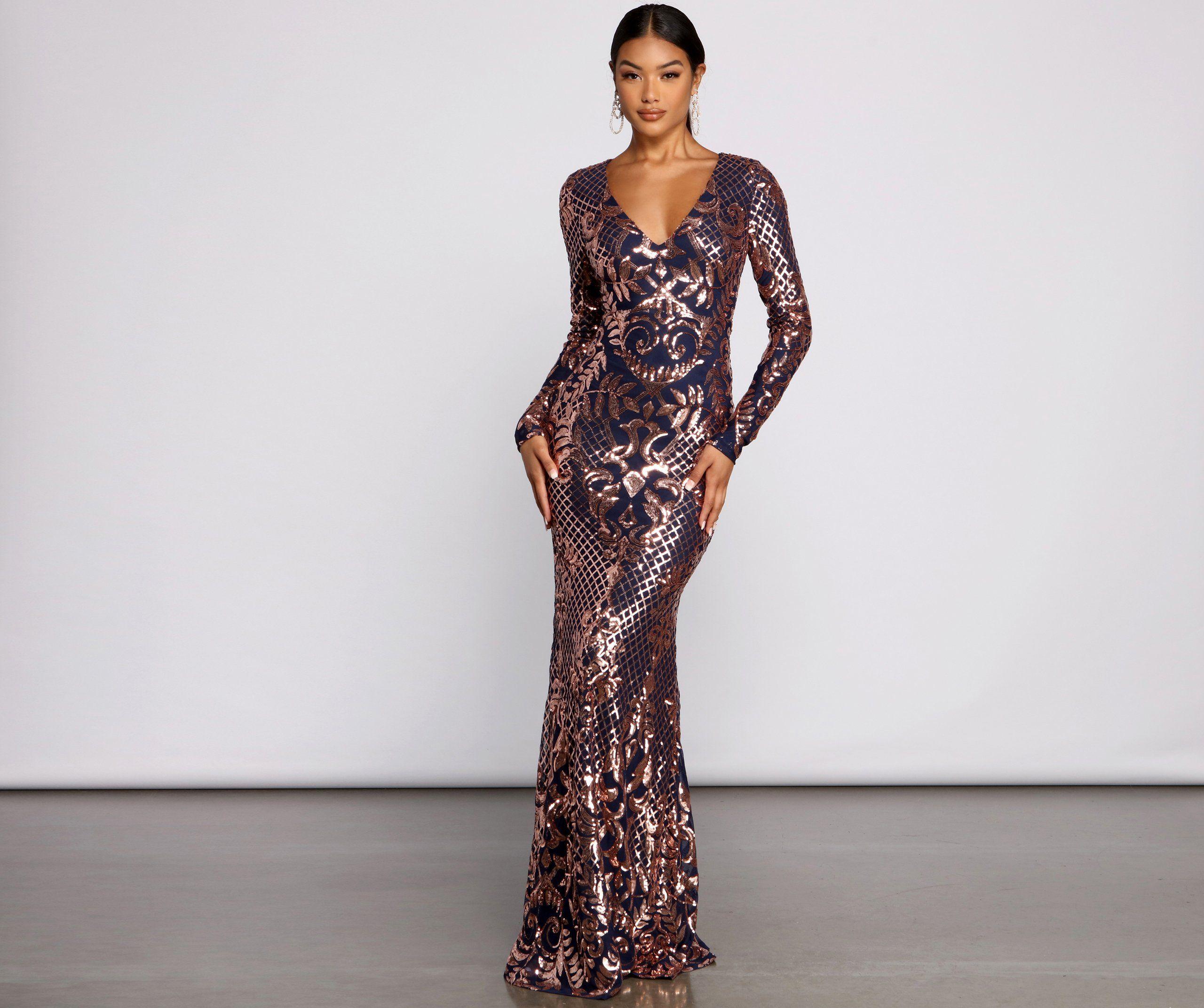 Ayla Formal Long Sleeve Sequin Scroll Dress In 2021 Dresses Long Sleeve Sequin Sequin Formal Dress [ 2145 x 2560 Pixel ]