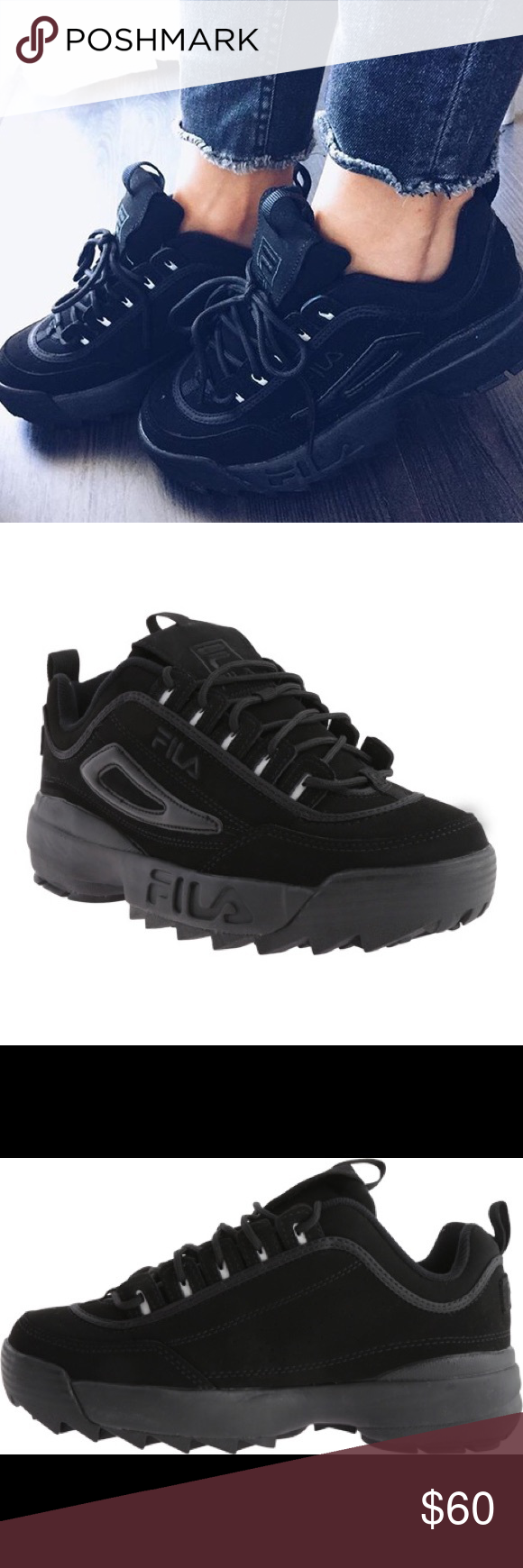 744c2587a57b Fila Disruptor II Triple Black Kids 6.5 WO 8.5 Get in style with these  brand new