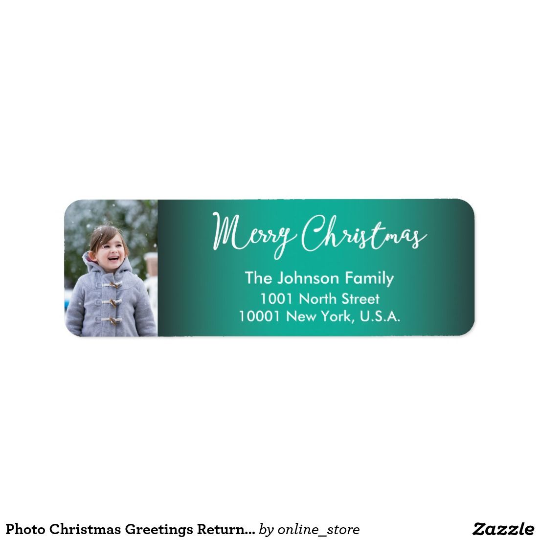 Photo Christmas Greetings Return Address Labels All Zazzle