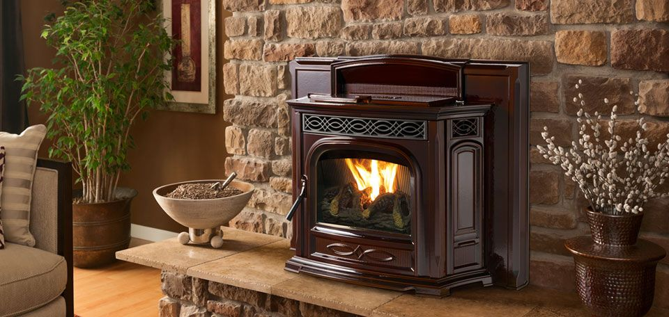 P Accentra 52i Pellet Insert Shown In Porcelain Majolica Brown With Optional Log Set P Wood Fireplace Inserts Pellet Insert Pellet Fireplace