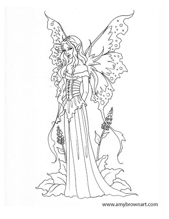 Difficult coloring pages of Fairy for adults | Fantasy ...