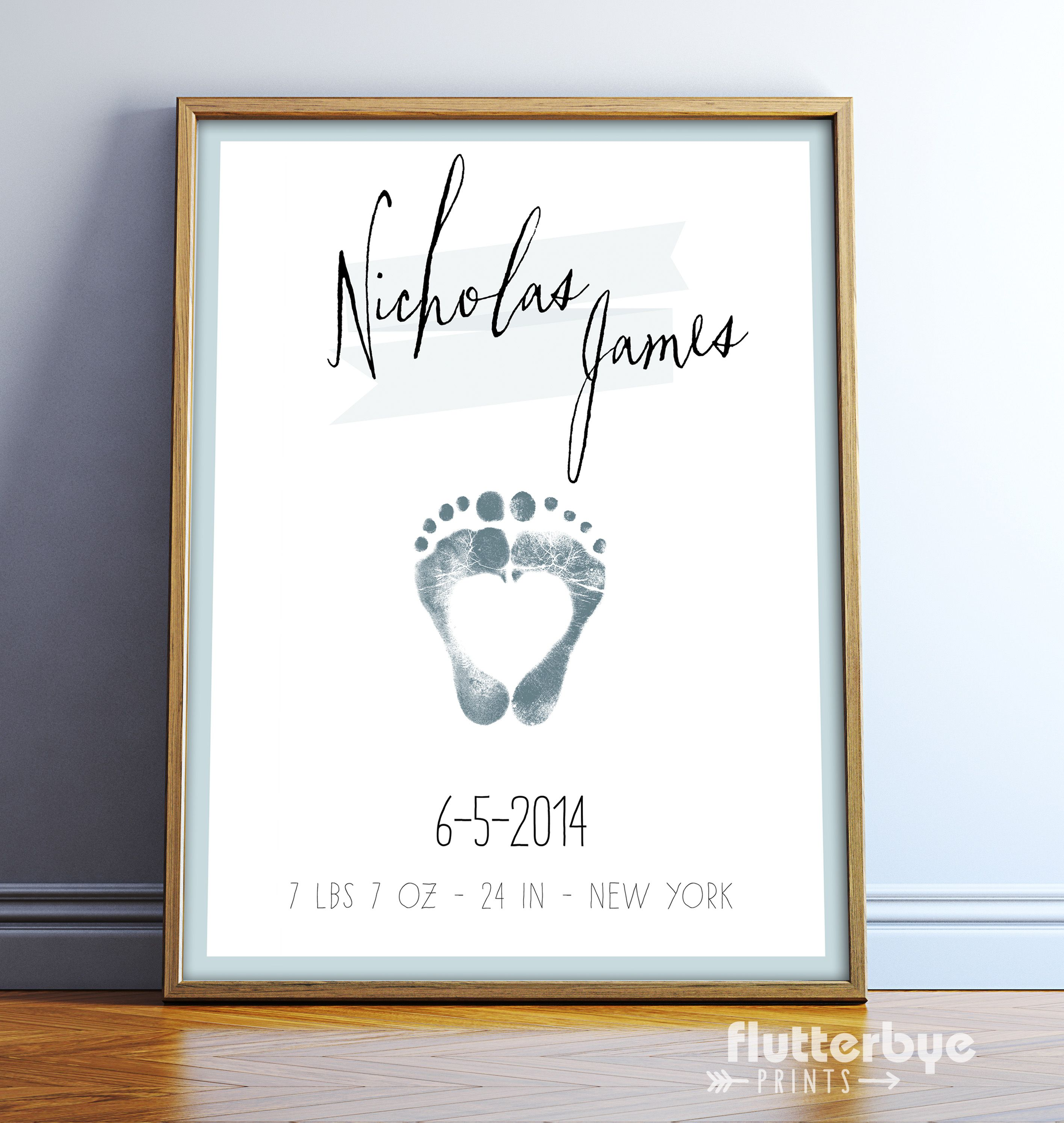 baby footprint personalized boy nursery wall art birth date poster gift your newborn baby 39 s. Black Bedroom Furniture Sets. Home Design Ideas