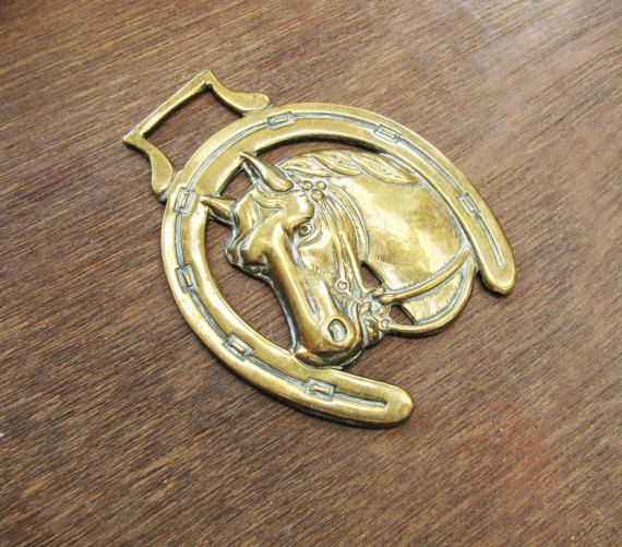 Vintage Brass Horseshoe Wall Hanging Horse Brass Gold Plaque