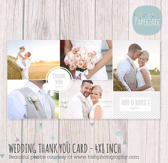 Wedding Thank You Card 4x8 Inch Photoshop Template Aw013 Etsy Wedding Thank You Cards Thank You Cards Wedding Thank You