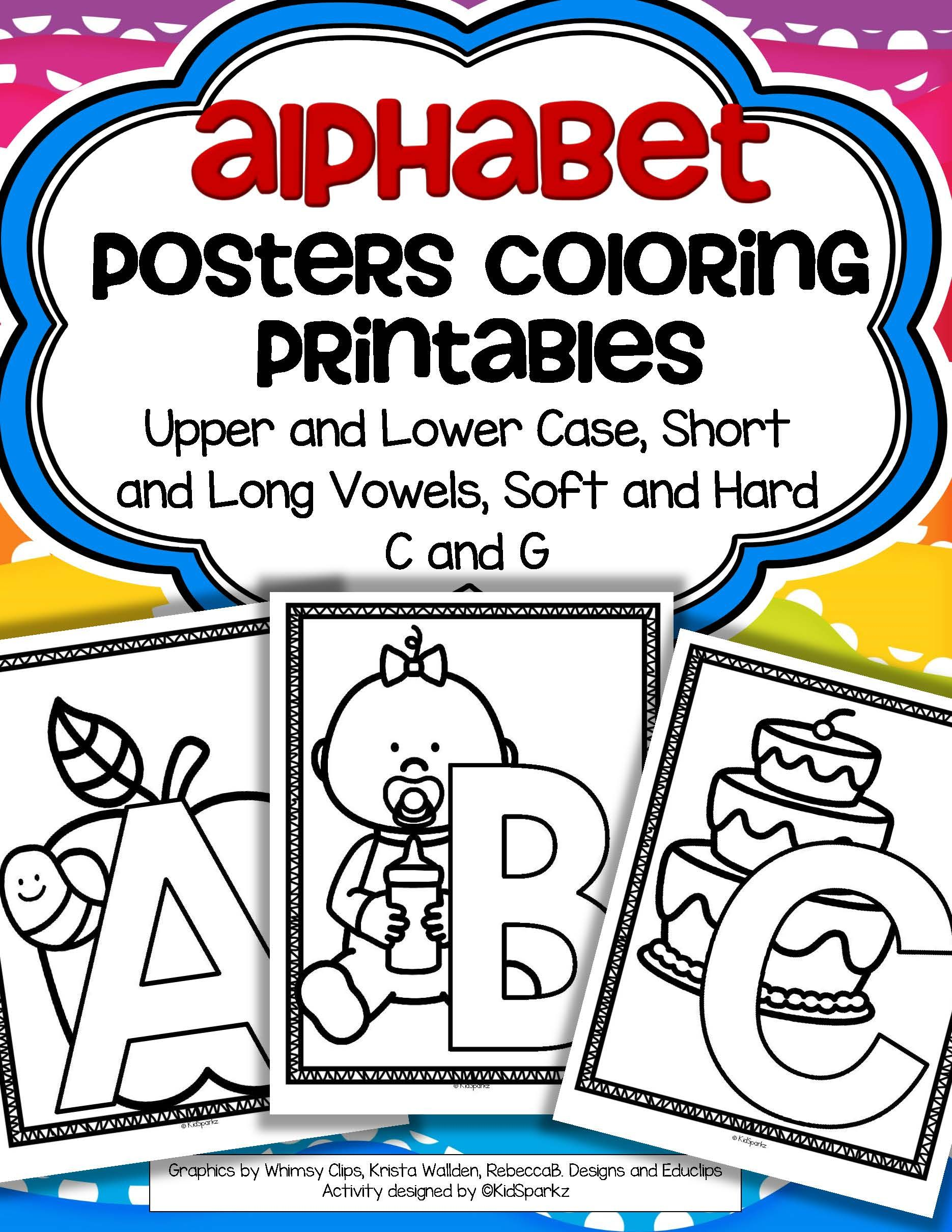 Alphabet Posters Coloring Printables Upper And Lower Case