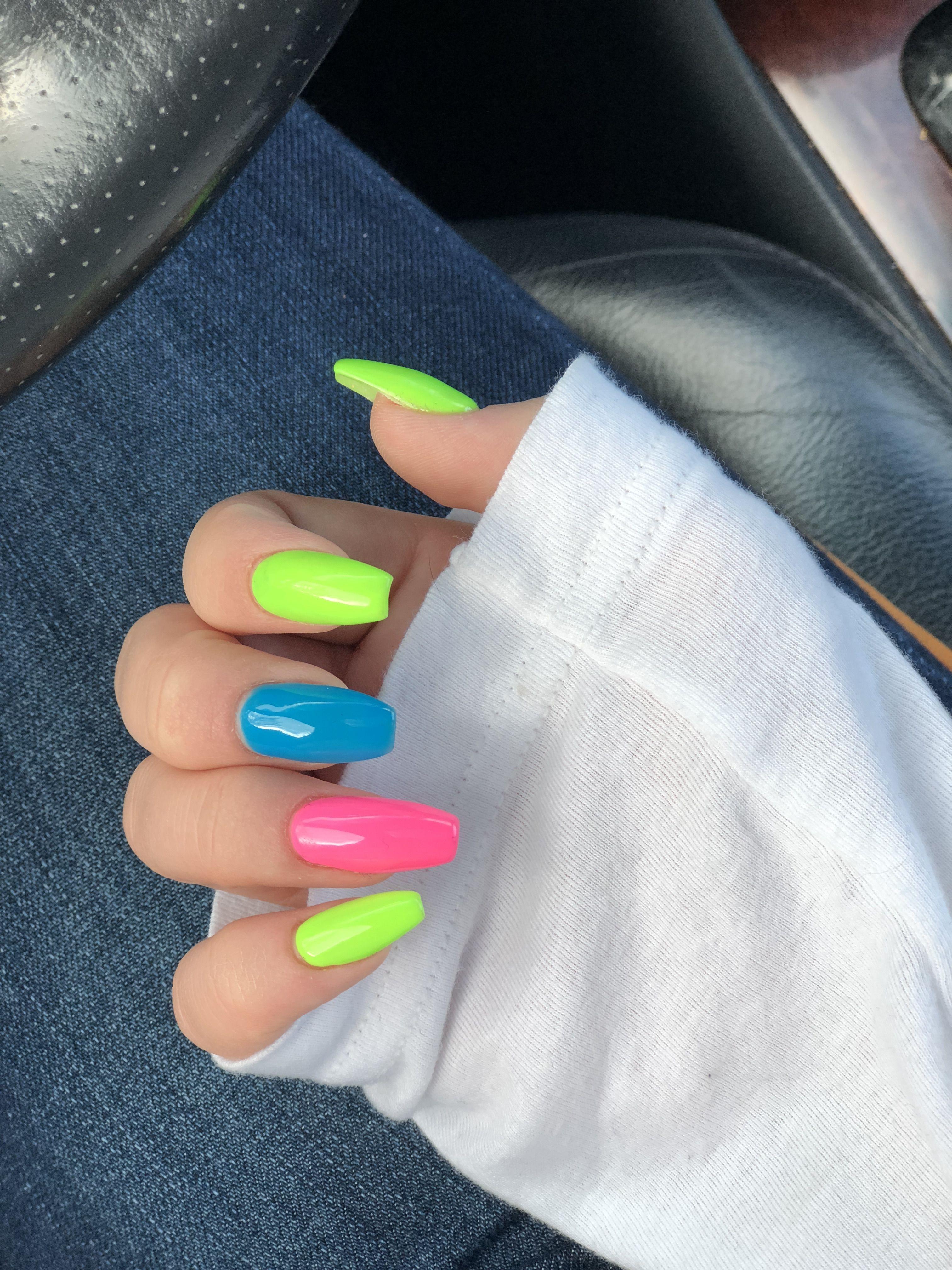 Rainbow Acrylic Nails Multicolored Nails Rainbow Nails Pretty Nails