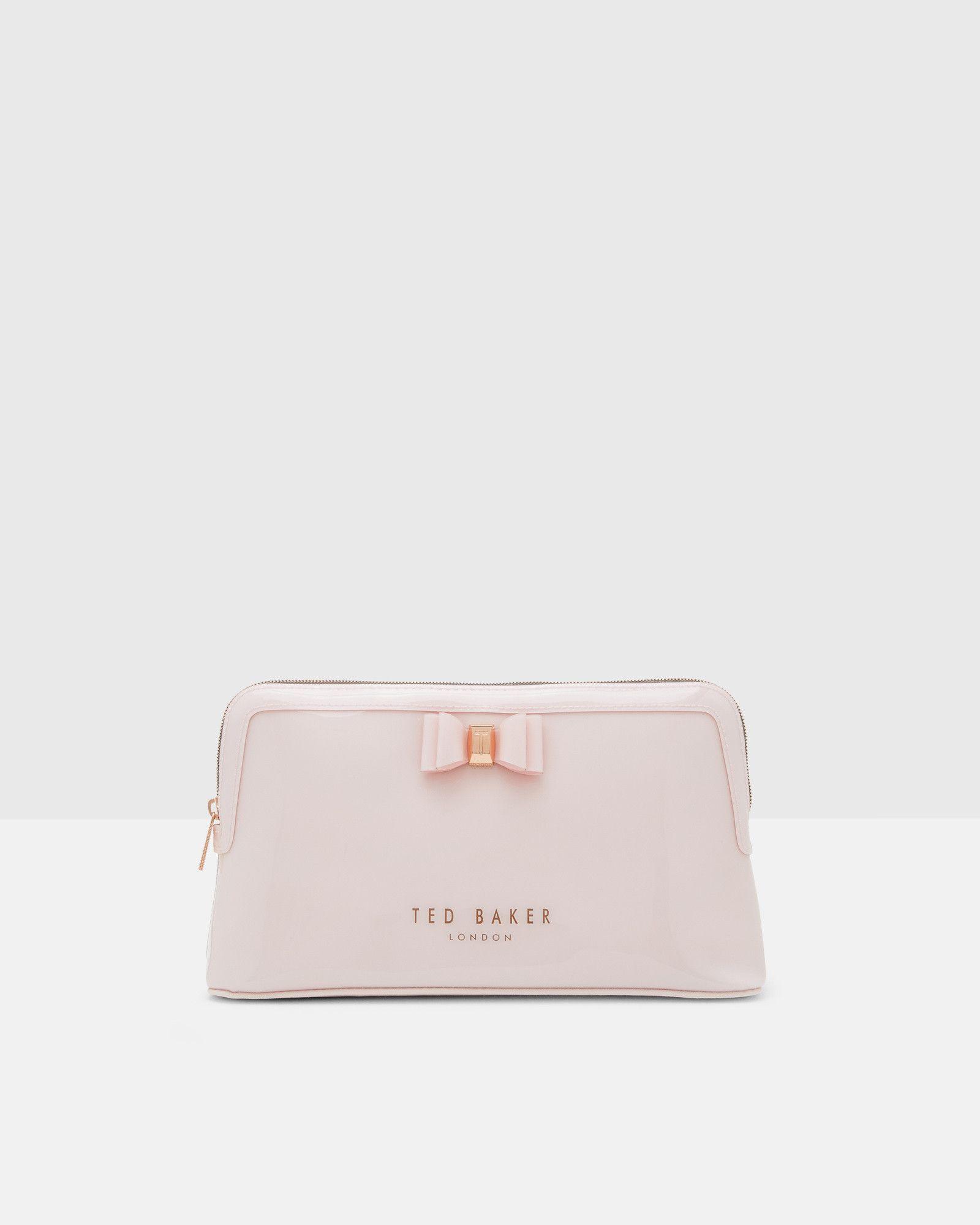 ab258ee0f962 Bow detail large wash bag - Dusky Pink