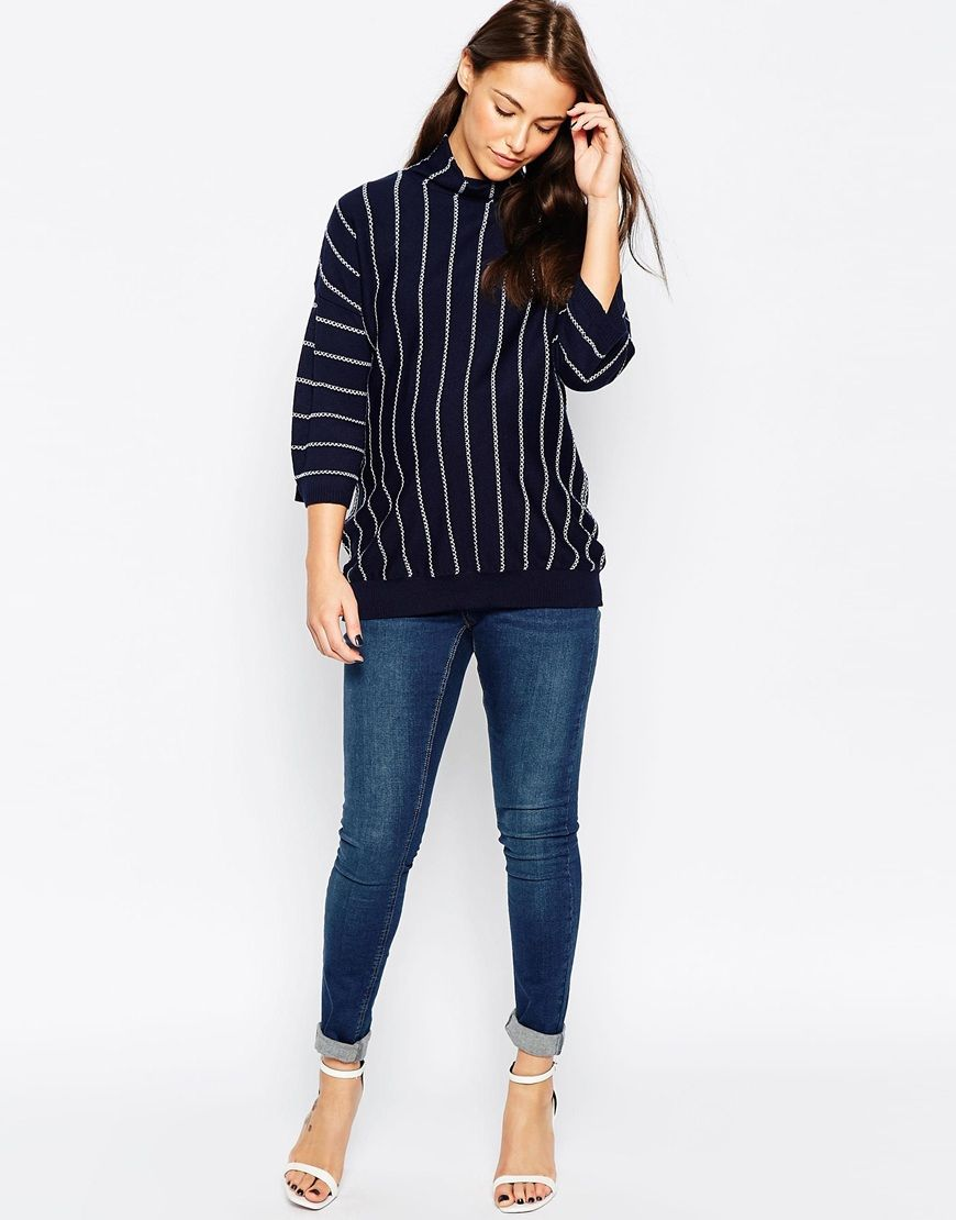 1d6ca567a7d2f Image 4 of ASOS Maternity Sweater With Funnel Neck And Vertical Stripe