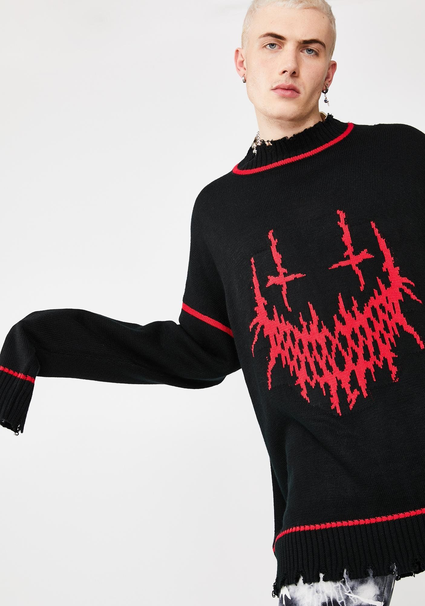 Evil Smile Oversized Knit Sweater #oversizedknitsweaters