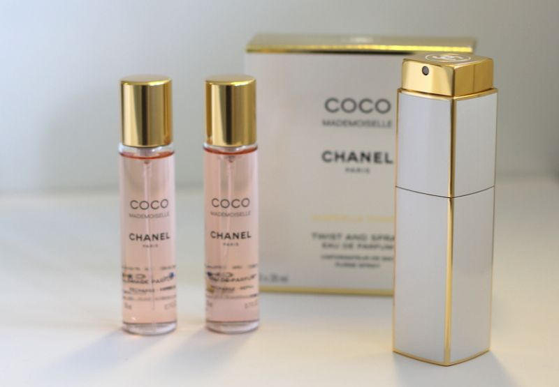 b3dbe404bc Twist & Spray perfume bottle in Coco Mademoiselle Eau de Parfum from Chanel.  Refillable with two refills (3 x 20 ml).