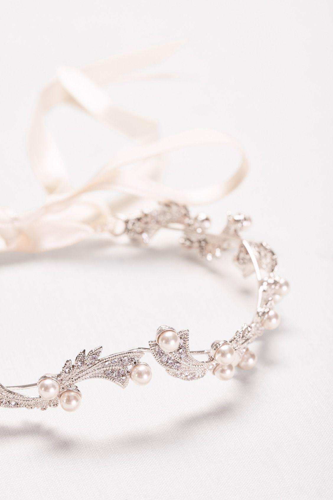 Pearl and Crystal Halo Bridal Headband by WHITE by Vera Wang ...