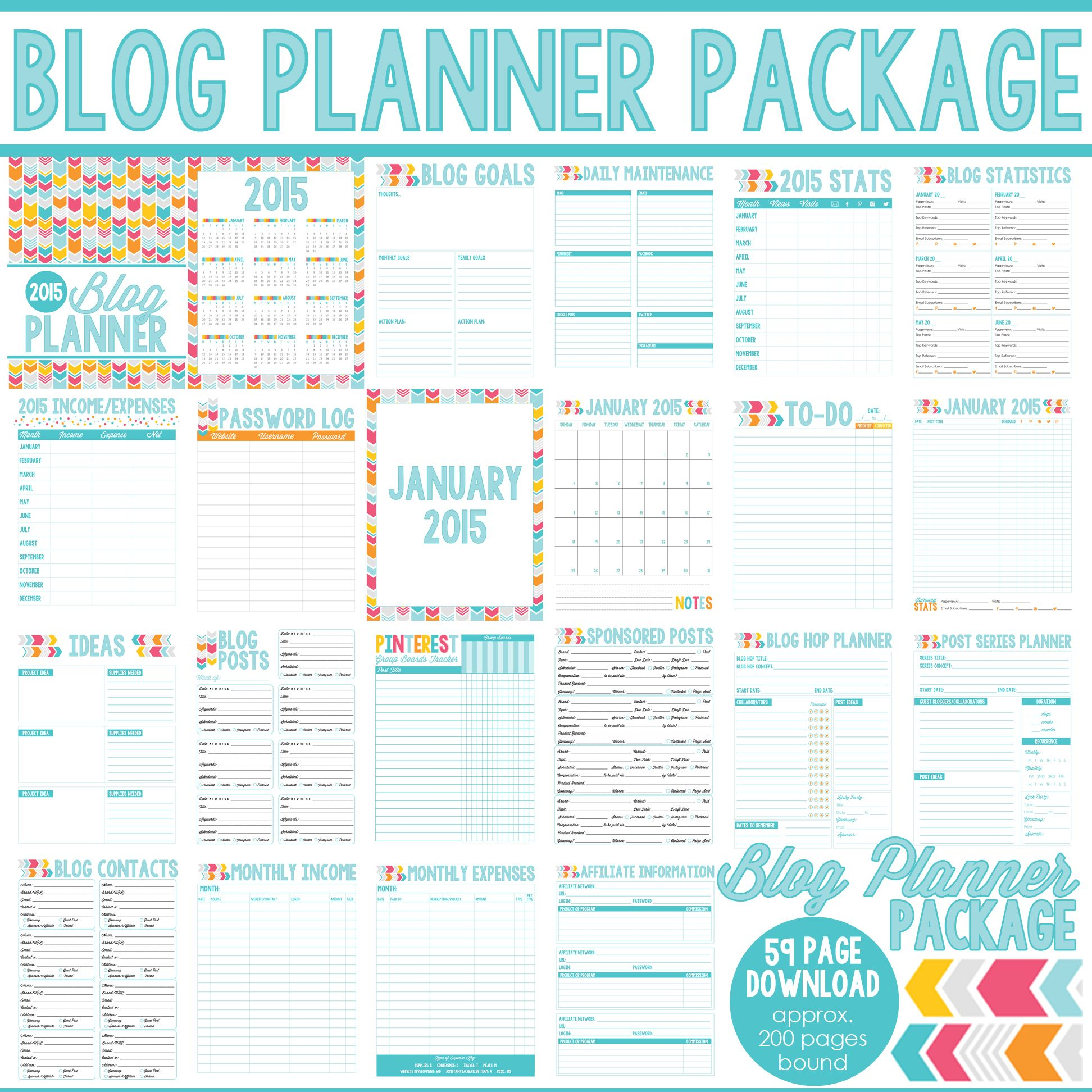 Blog Planner Daily Planner And Menu Planner  Blog Planner