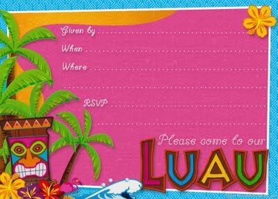 Free Printable Hawaiian Luau Party Invitations
