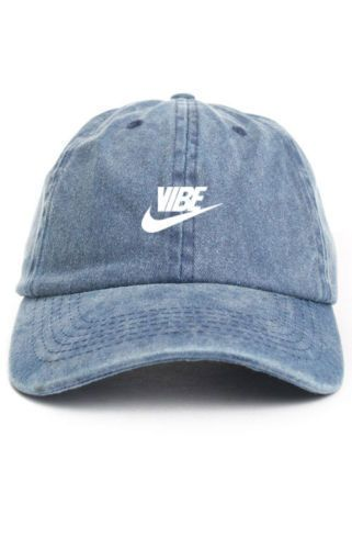 Vibe Swoosh White Custom Unstructured Black  Baseball Dad Hat Cap New