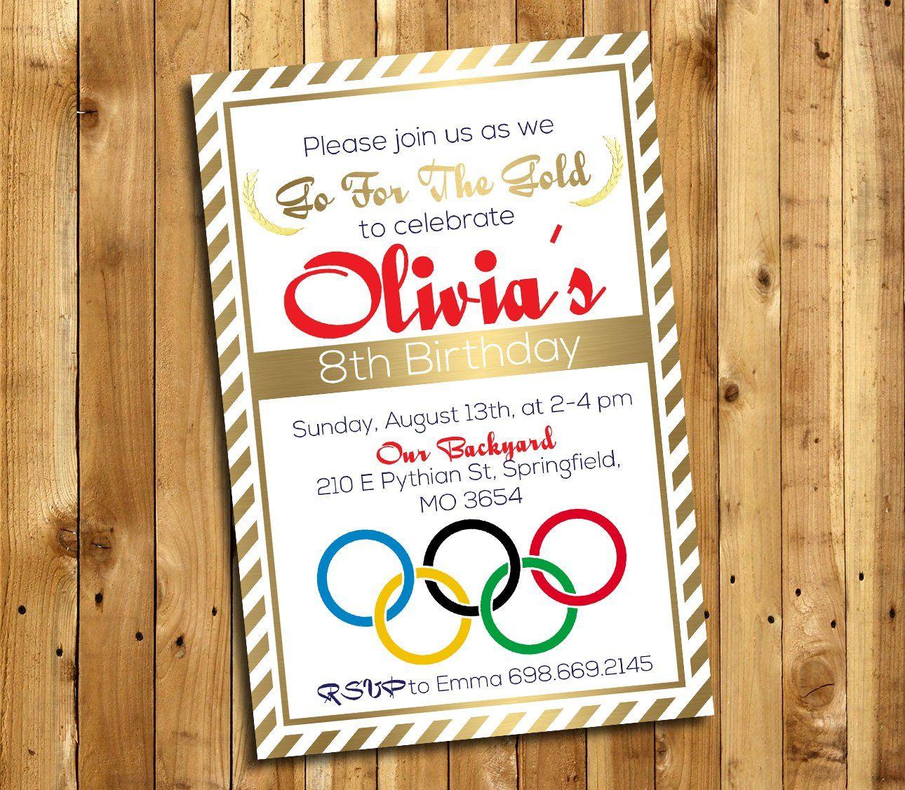 Olympics Gymnastics Birthday Party Invitation, Team USA, Olympics ...