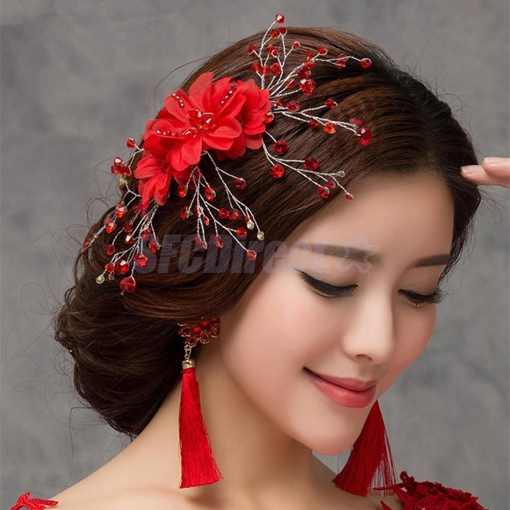 vintage bridal hair comb red flower hair accessories wedding hair