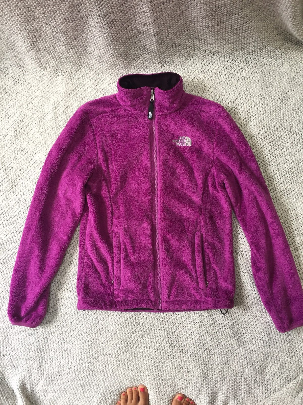 Purple Pink Fuzzy Fleece Full Zip North Face Jacket In Used Condition Adjustable Waste Fit North Face Fleece Jacket Jackets North Face Jacket [ 1600 x 1200 Pixel ]