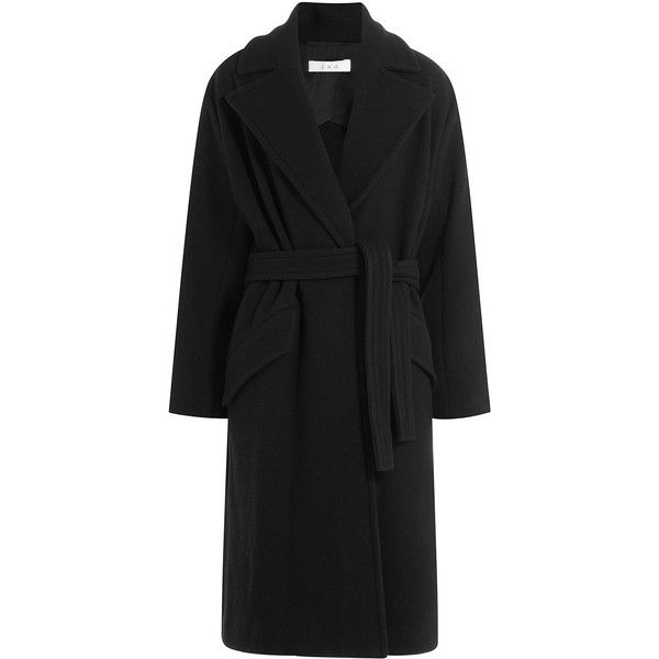 Iro Belted Coat (1.510 BRL) ❤ liked on Polyvore featuring outerwear, coats, coats & jackets, jackets, black, coat with belt, belt coat, cinch coats, oversized coat and belted coat
