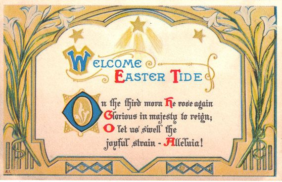 Welcome Easter Tide - Vintage Easter Postcard | Vintage easter ...