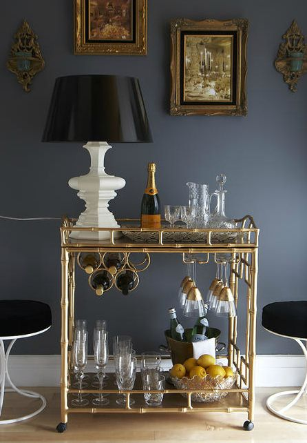 Ordinaire ... Bar Cart With White Table Lamp, Veuve Champagne, Gold Dipped Wine  Glasses, Sparkling Water In Champagne Bucket, Lemons, Crystal Jug And  Decanter (dp)