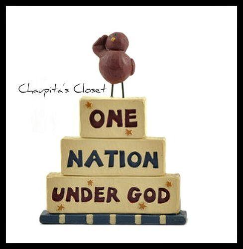 Blossom Bucket Resin ONE NATION UNDER GOD Bird Resin Figurine Patriotic Decor