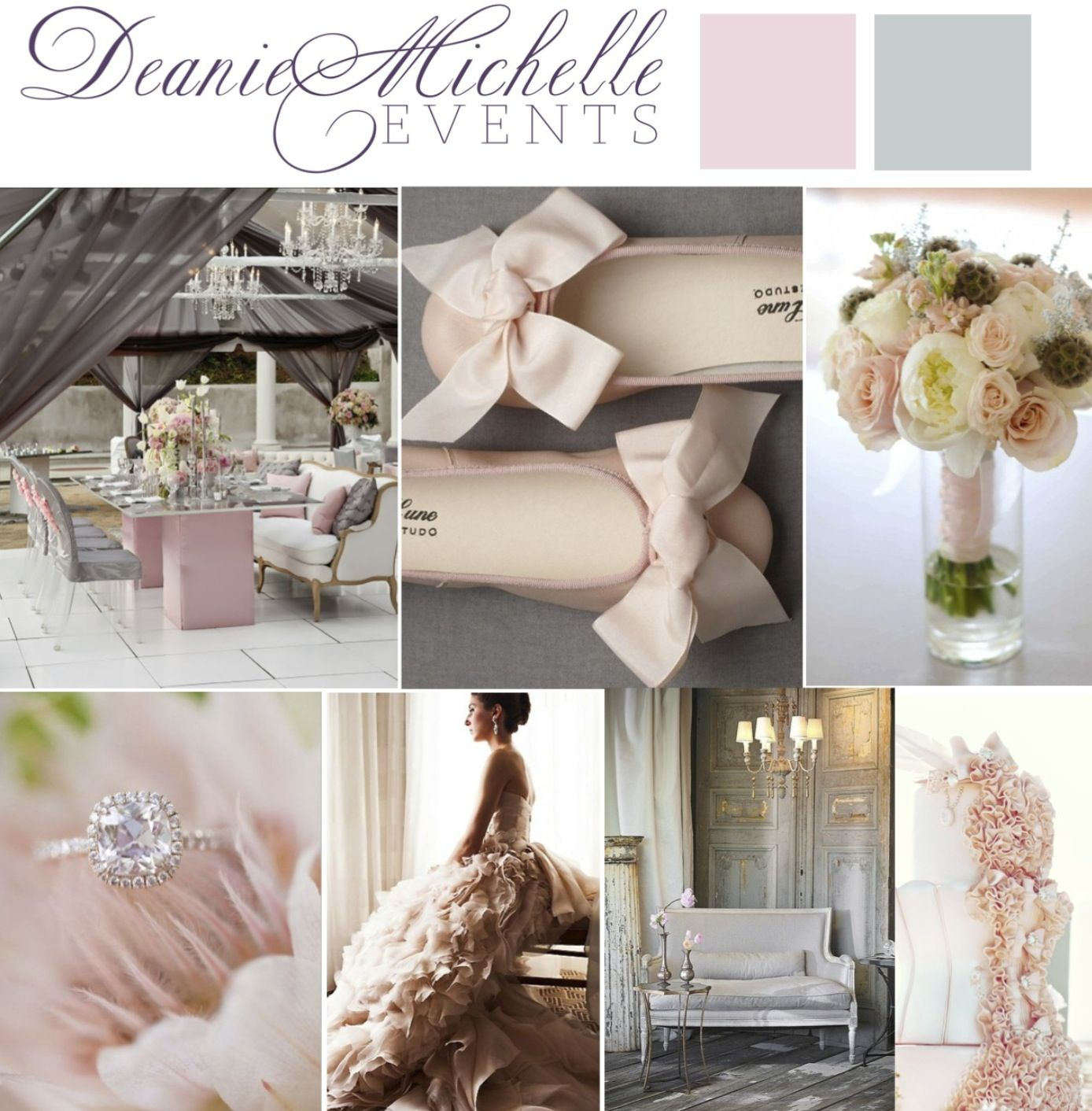 Love this soft, feminine, romantic ballerina inspired wedding mood board that we created for one of our Monday Mood Board blog posts. Deanie Michelle Events Dallas Wedding Planner