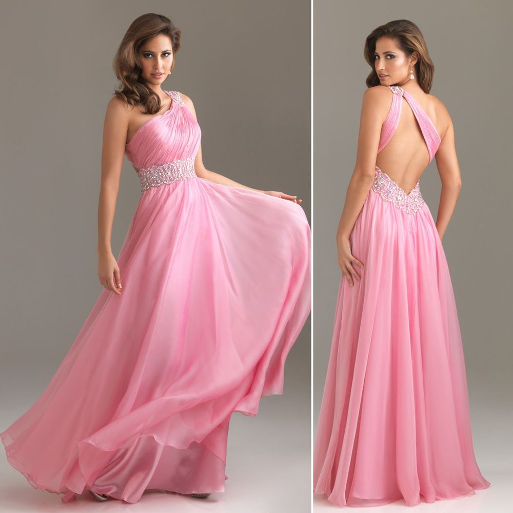 Pink one shoulder beadedruched eveningformalballgownprom