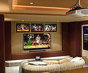 Multiple Tvs And Projection Screen Living Room Tv Wall Home Home Theater Rooms
