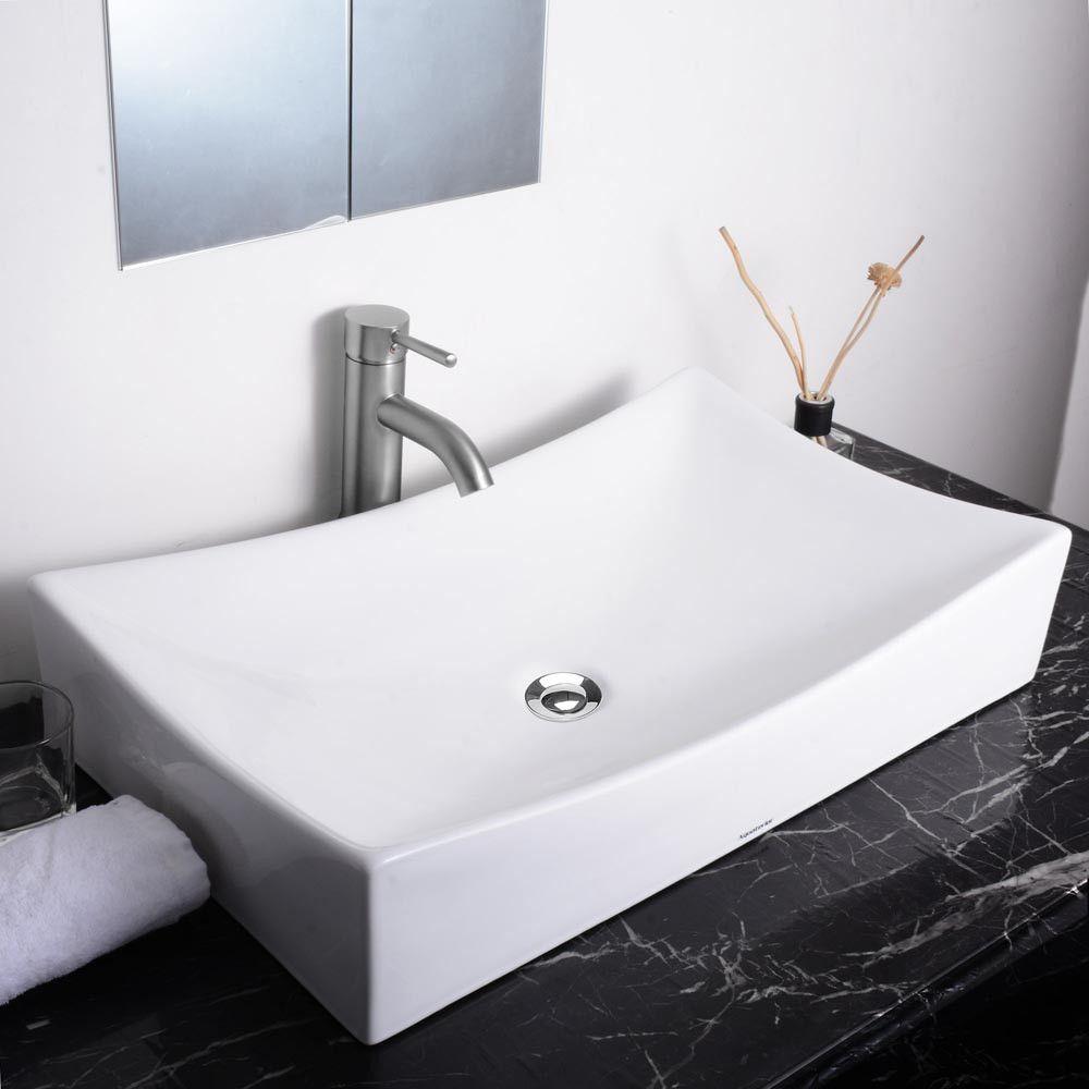 "Bathroom Drain Plumbing Minimalist aquaterior® 25 3/4"" rectangular porcelain sink vessel w/ drain"
