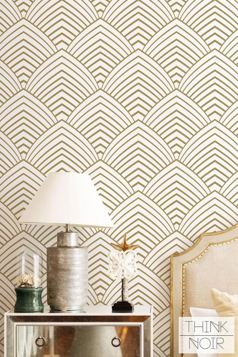 Removable Art Deco Wallpaper Self Adhesive Regular Etsy In 2020 Art Deco Wallpaper Geometric Wallpaper Wallpaper