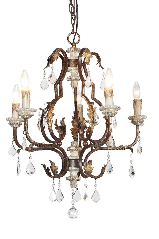 Antique Wrought Iron Crystal Chandelier With Golden Leafs And Wood Candle Cups 300