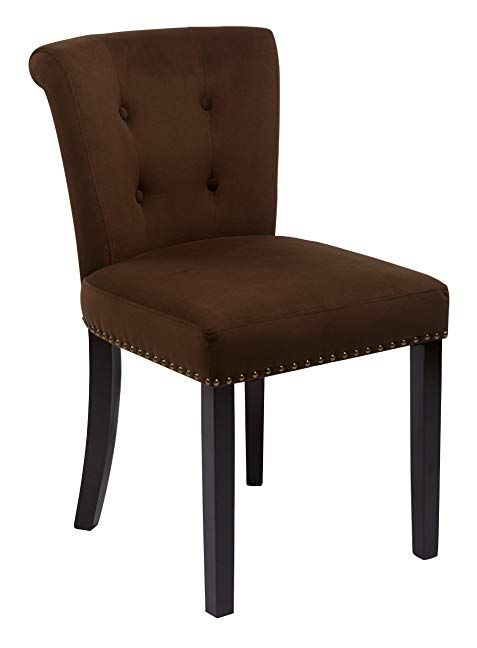 Ave Six Kendal Upholstered Tufted Back Chair With Solid Wood Legs With Nailhead Accents Chocolat Osp Home Furnishings Fabric Accent Chair Velvet Dining Chairs