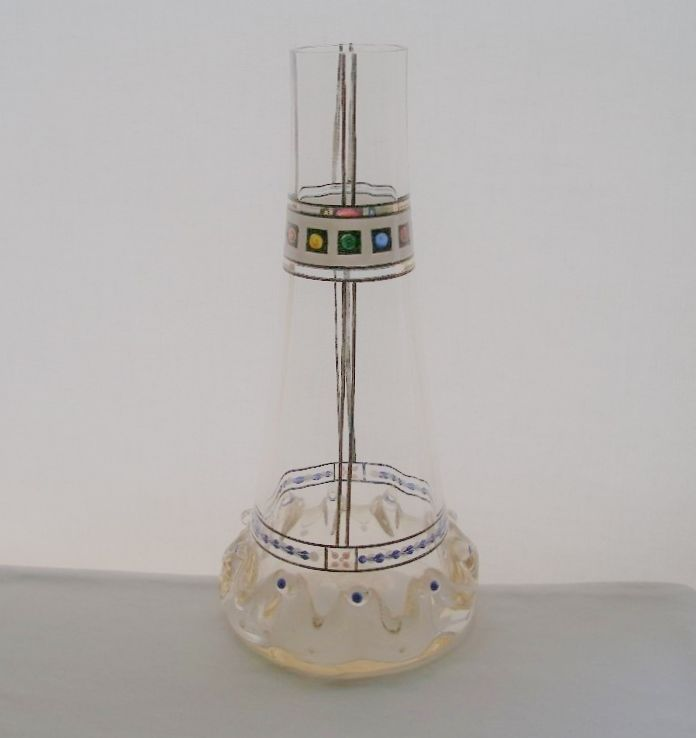 INCREDIBLE Hand Painted EXQUISITE Art Glass VASE with NOUVEAU and DECO Designs