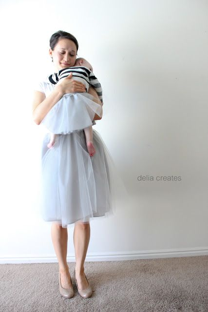Mother and Daughter Gray Day Tulle Skirts Tutorial