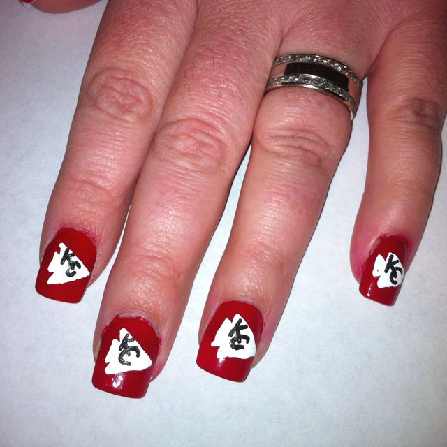 Kansas City Chiefs nail design! | nails | Pinterest