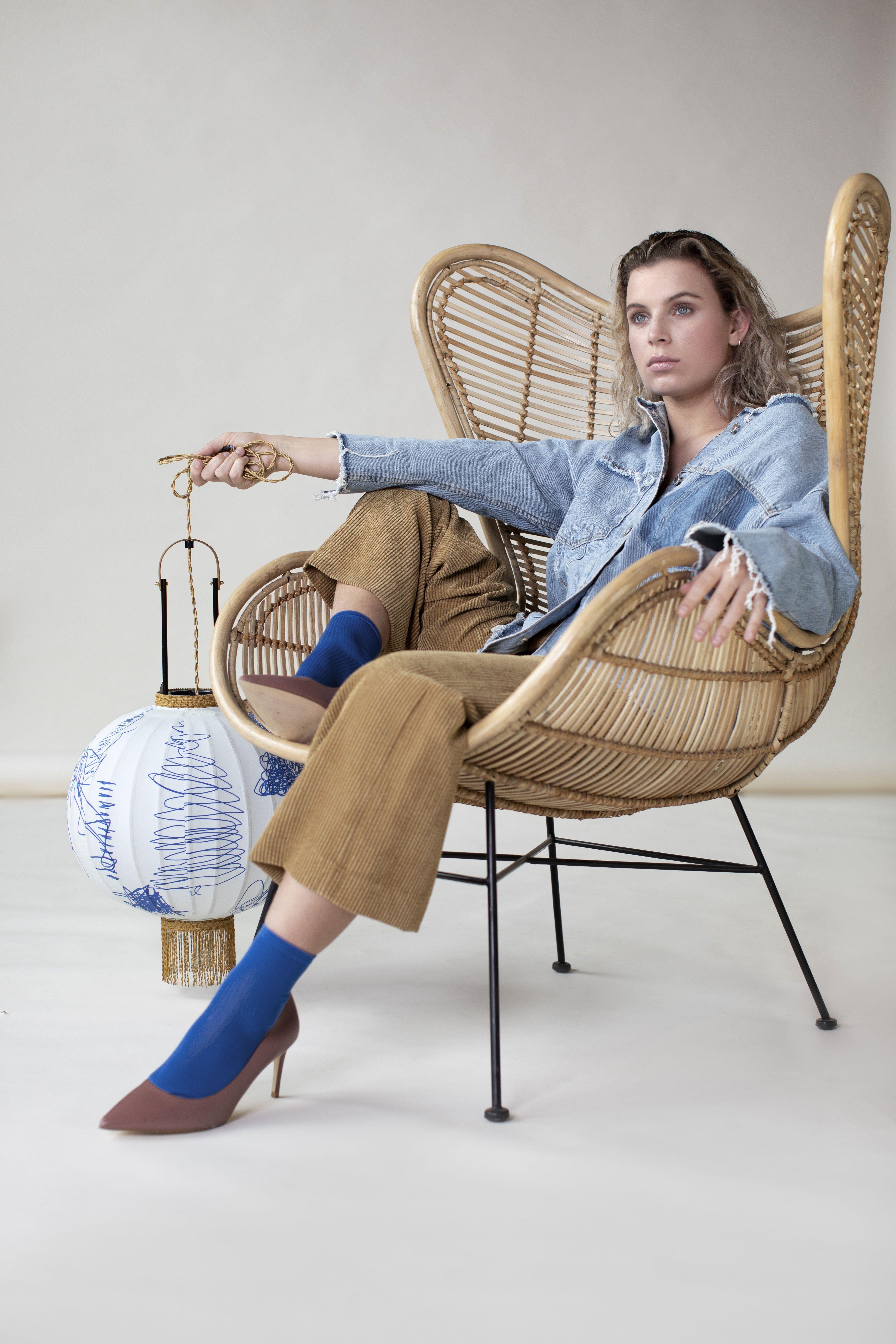 Hkliving traditional lantern m pencil rattan egg chair