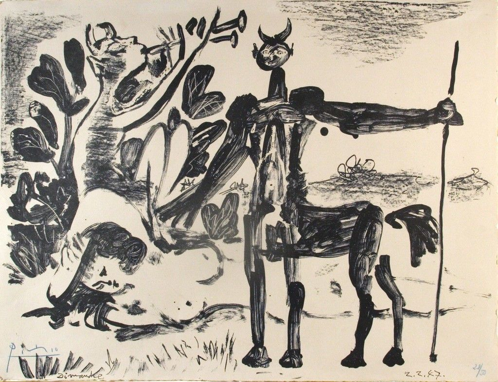 Centaure et bacchante avec un faune, 2 Febuary 1947   Pablo Picasso, Centaure et bacchante avec un faune, 2 Febuary 1947 (1947)