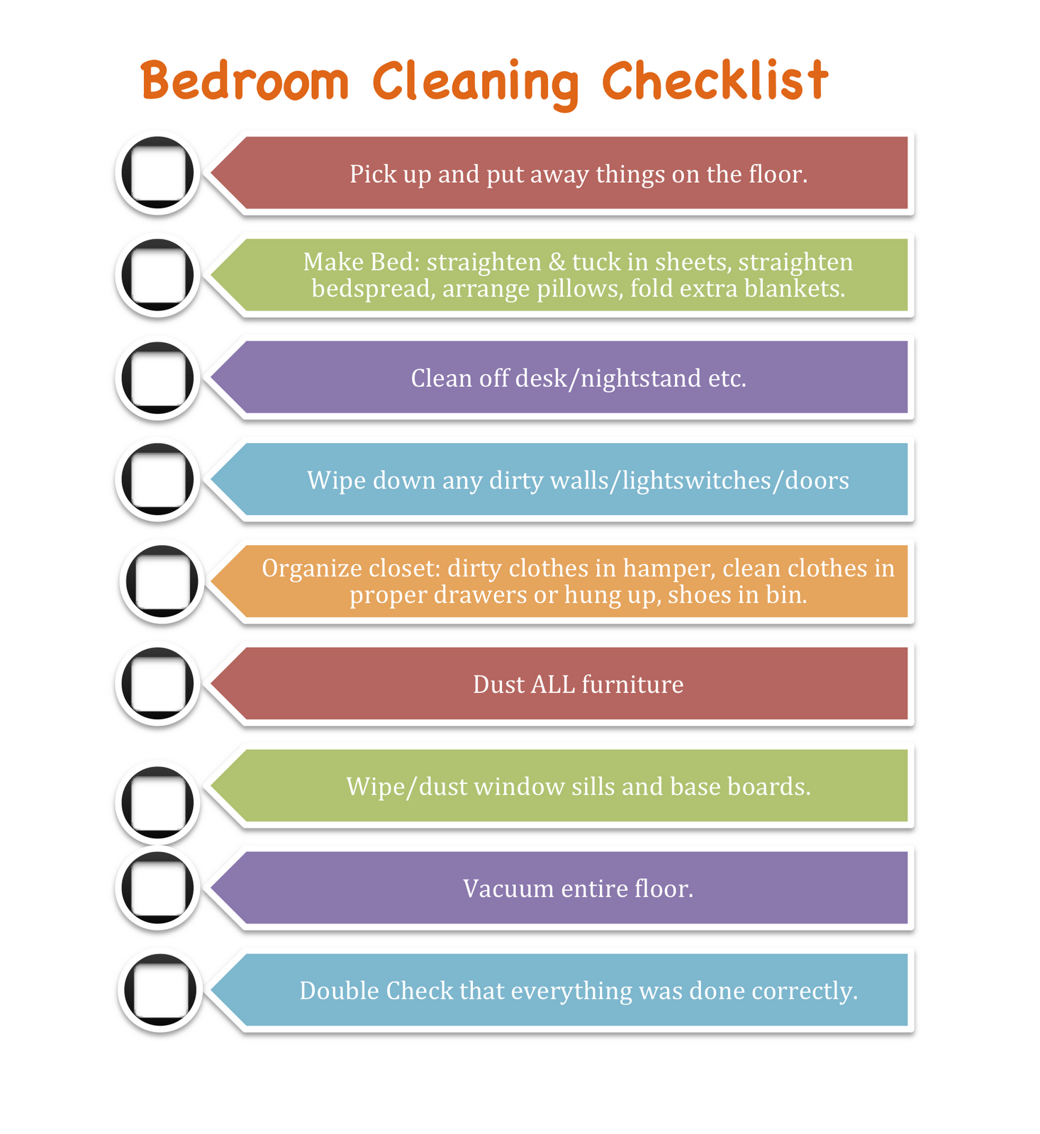 clean bedroom checklist for kids youll also notice the last thing on each list is