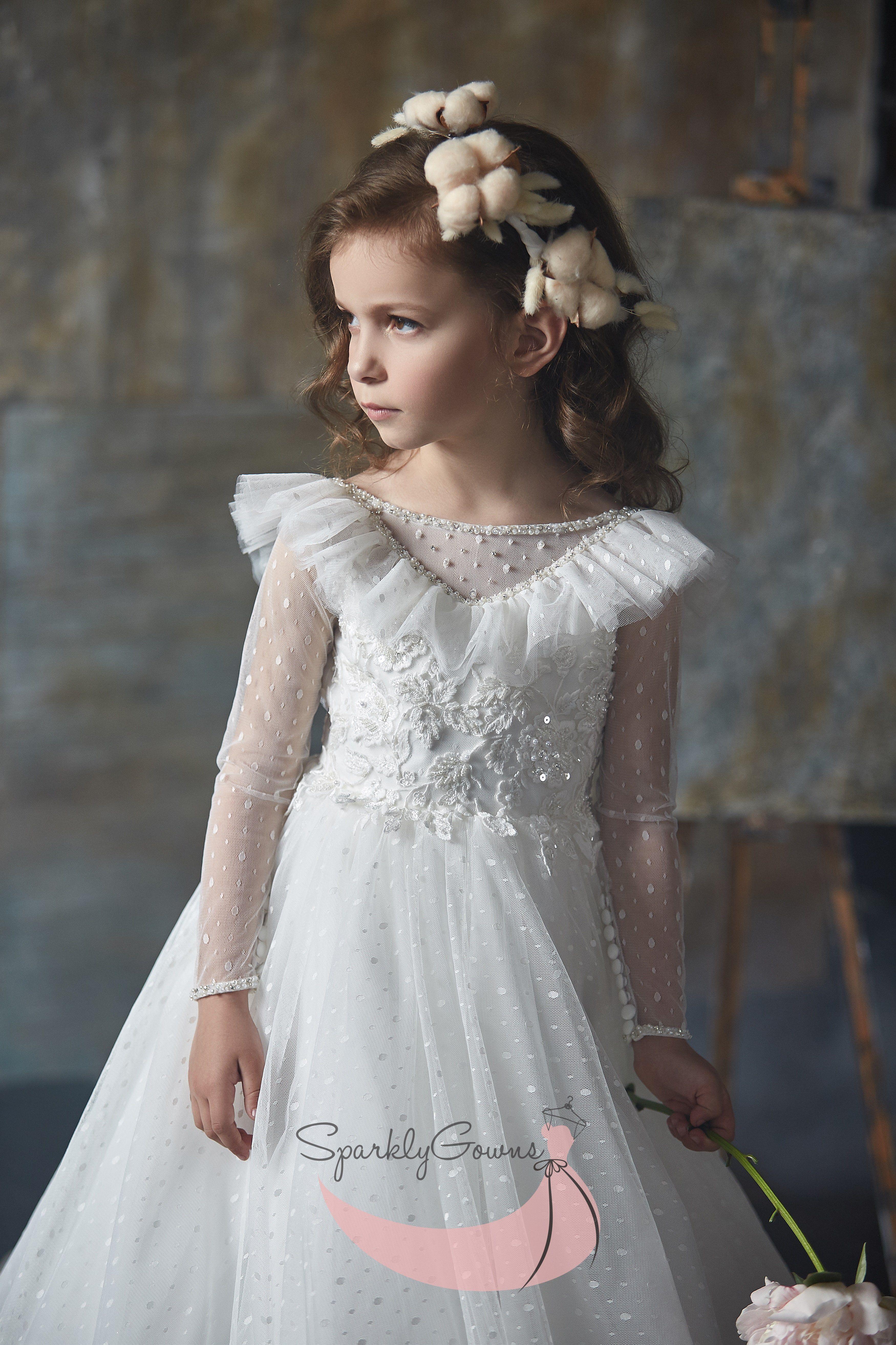 Ruffles Long Sleeve First Communion Flower Girl Dress 3002 White Flower Girl Dresses Flower Girl Dresses Dresses [ 5250 x 3500 Pixel ]
