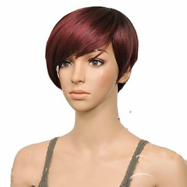 Attractive Straight Synthetic Vogue Claret Ombre Deep Brown Short Side Bang Women's Wig