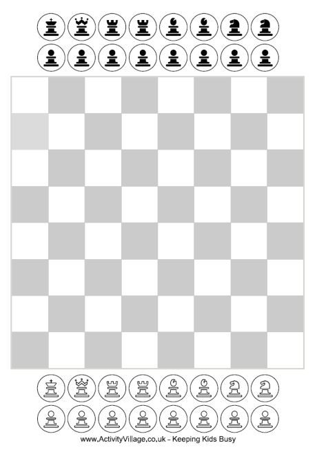 Free Printable Chess for kids - has these pieces and a bigger - chess score sheet