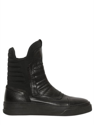 59965797f04 BB BRUNO BORDESE WASHED - LEATHER  amp  NEOPRENE TALL SNEAKERS - BLACK High  Tops