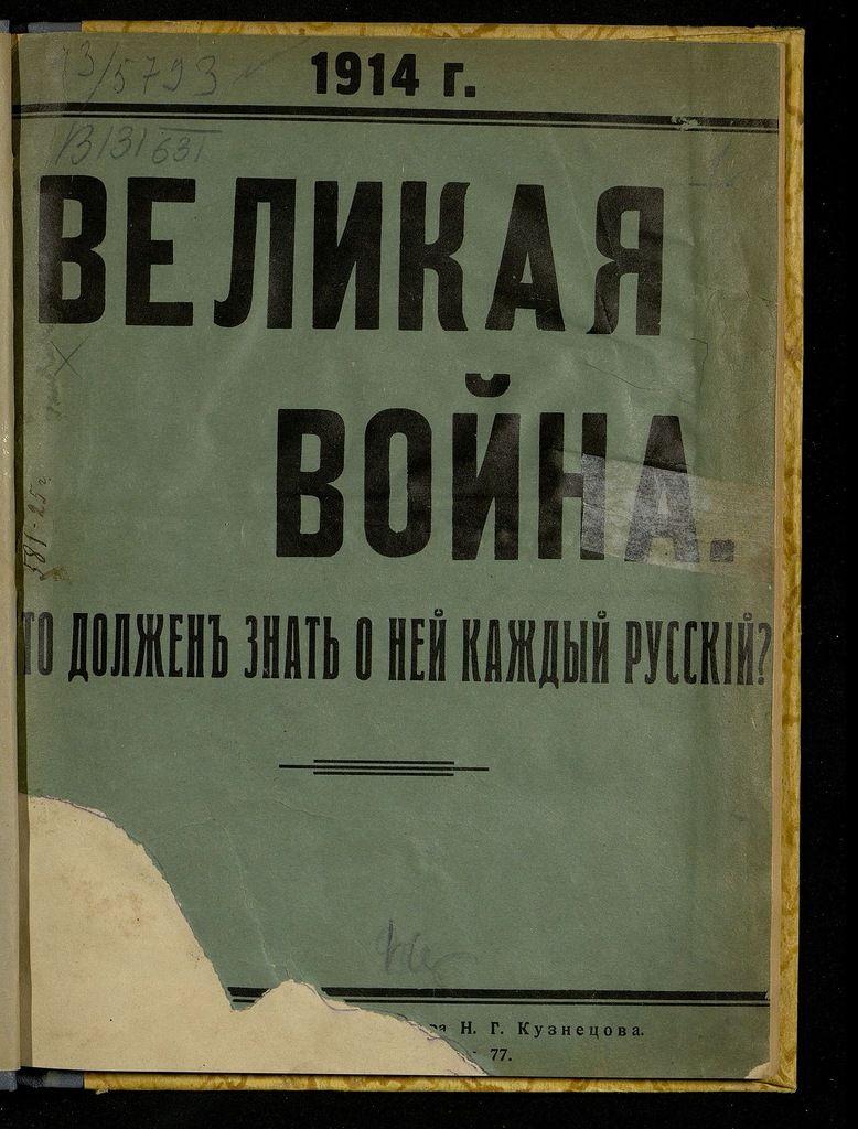 Великая война. Что должен знать о ней каждый русский? 1914 год. Кузнецов Н.Г.