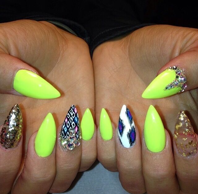 Neon Nail Polish Pointy Nails Nail Designs Nail Design With