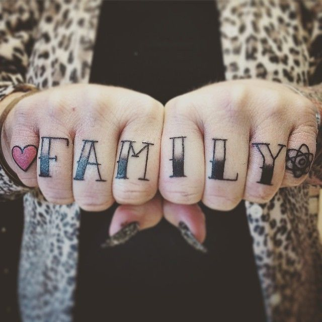 Girly Knuckle Love Family Tattoo