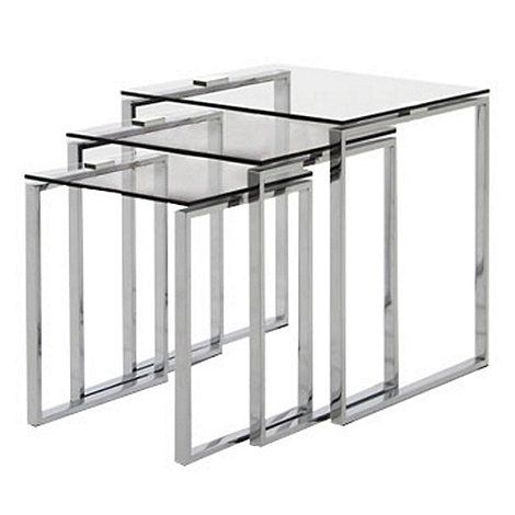 Debenhams Chrome And Glass Alberta Nest Of 3 Tables At